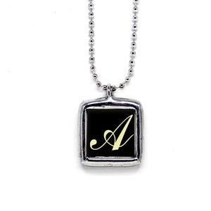 Calligraphy Style Initial • Soldered Glass Pendant