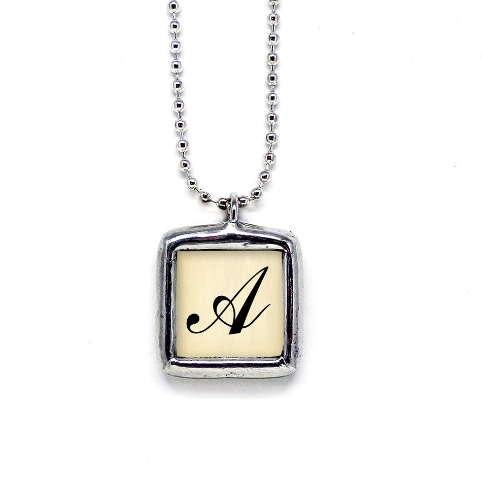 Script Style Initial • Soldered Glass Pendant