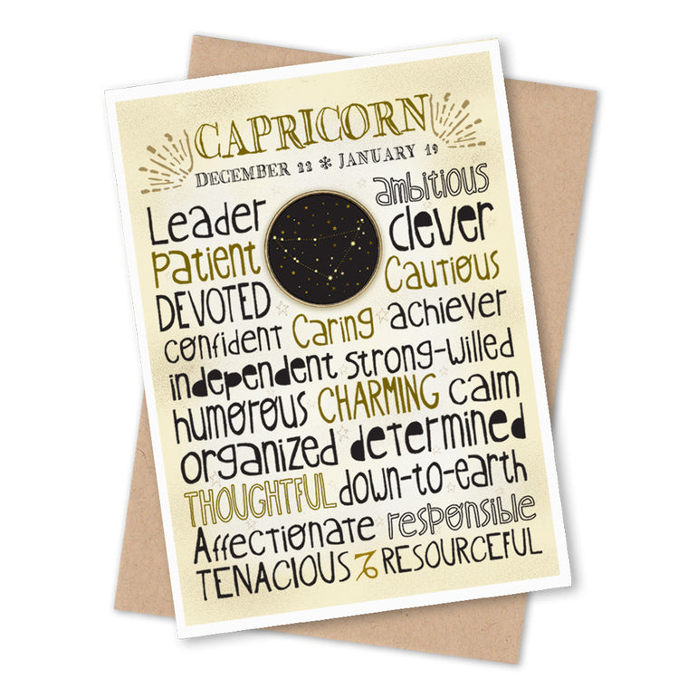 Capricorn Zodiac Blank Greeting Card