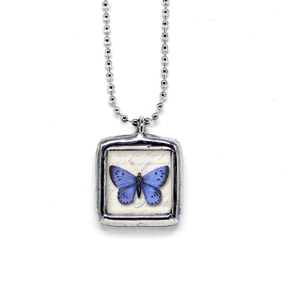 Cobalt Blue Butterfly • Message Choice Pendant