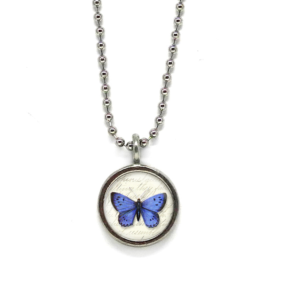 Blue Blue Butterfly Pendant • Choice of Message