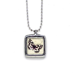 Ebony & White Butterfly • Nature Jewelry Pendant