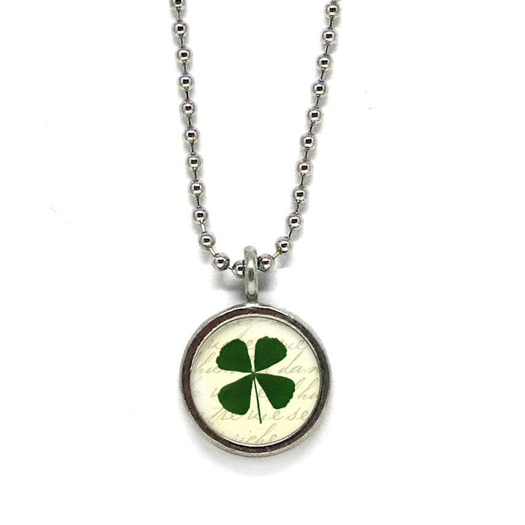 Lucky Four Leaf Clover Pendant • Choose a Message
