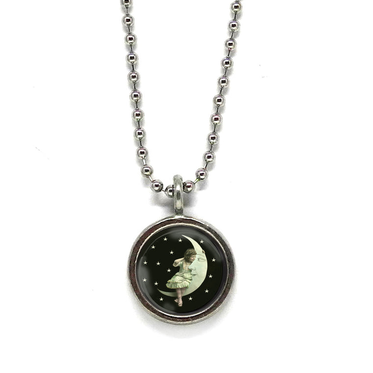 Little Girl on the Moon Necklace • Choose a Message
