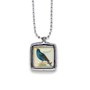 Indigo Bunting Bird • Nature Jewelry Pendant