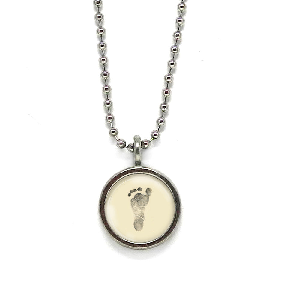 Ivory Baby Footprint Pendant • Message Choices