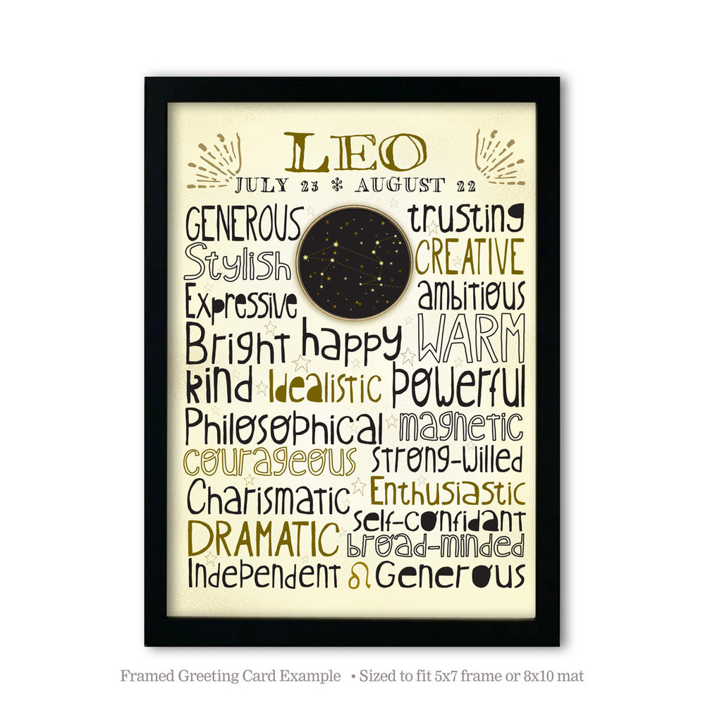 Leo Zodiac Blank Greeting Card
