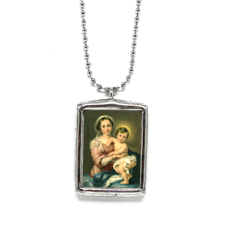 Madonna & Child • Soldered Glass Pendant
