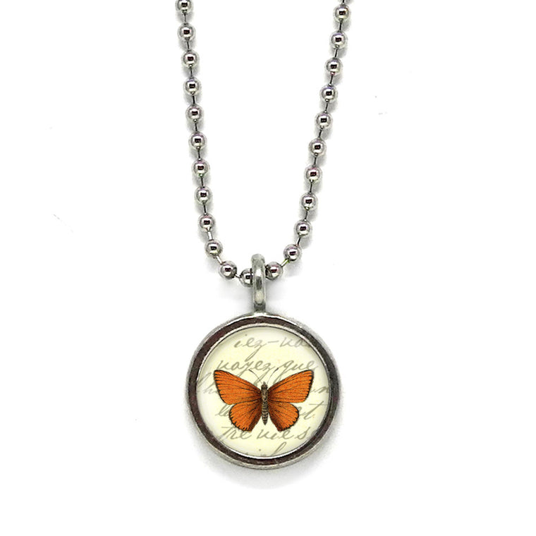Orange Butterfly Necklace • Choose a Message