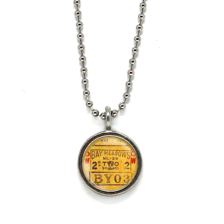 Race Track Ticket Pendant • Message Choices