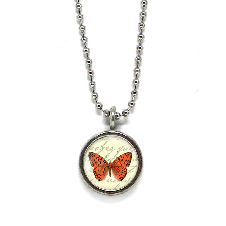 Red Butterfly Necklace • Choose a Message