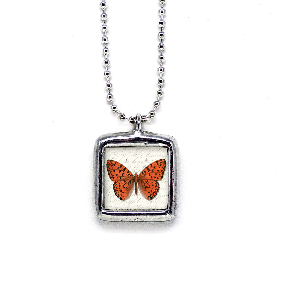 Deep Orange Butterfly • Message Selection Pendant