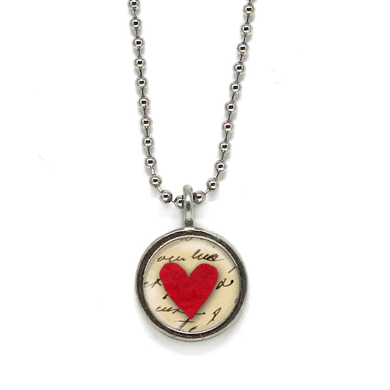 Red Heart Necklace • Choose a Message