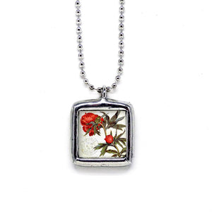 Peonies Nature Jewelry Pendant • Choice Of Message