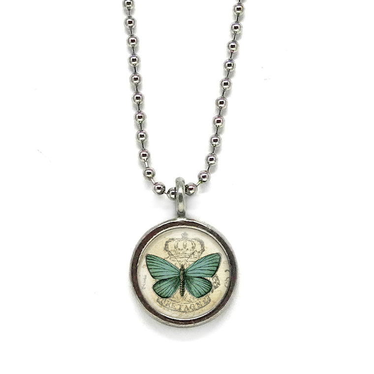 Teal Butterfly Necklace • Message Choice