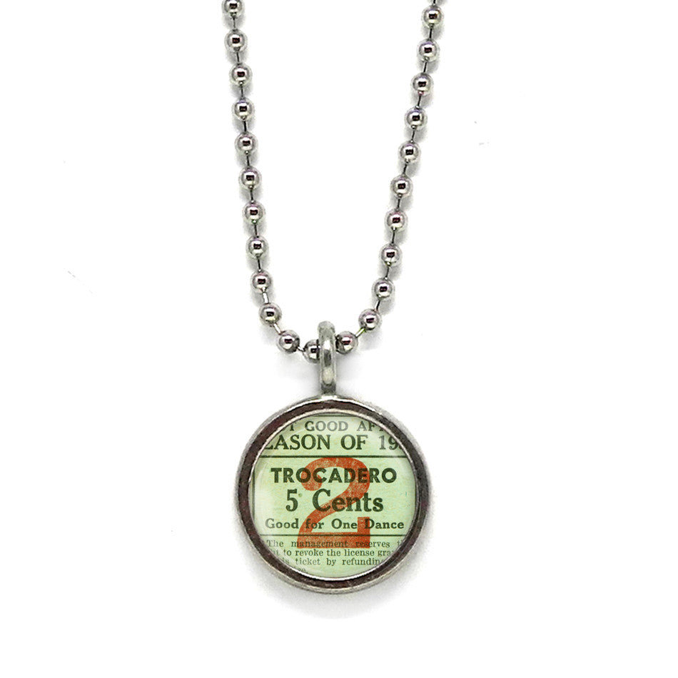 Vintage Dance Ticket Pendant • Message Choices