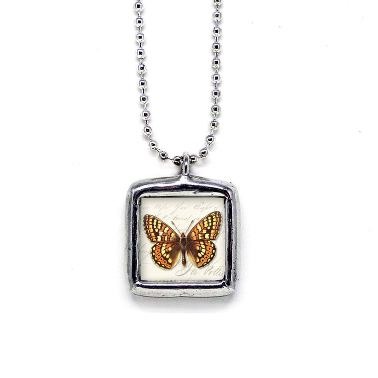 Rich Umber & Rust Butterfly • Message Choice Pendant