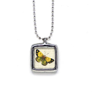 Yellow & Green Butterfly • Nature Jewelry Pendant