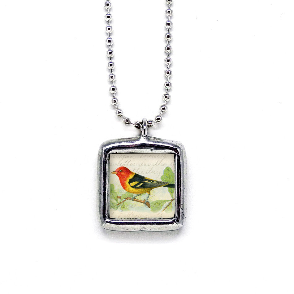 Red & Gold Songbird • Nature Jewelry Pendant