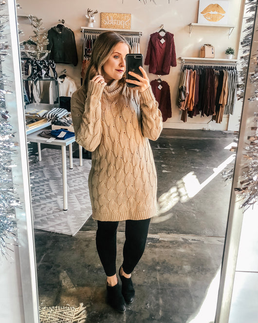 Belle Chunky Cable Knit Sweater Dress