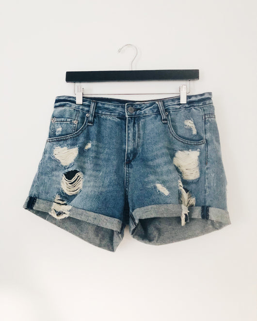 Audrey Mid-Rise Distressed Denim Shorts