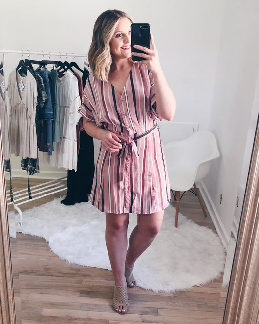 Scarlett Striped V-Neck Dress