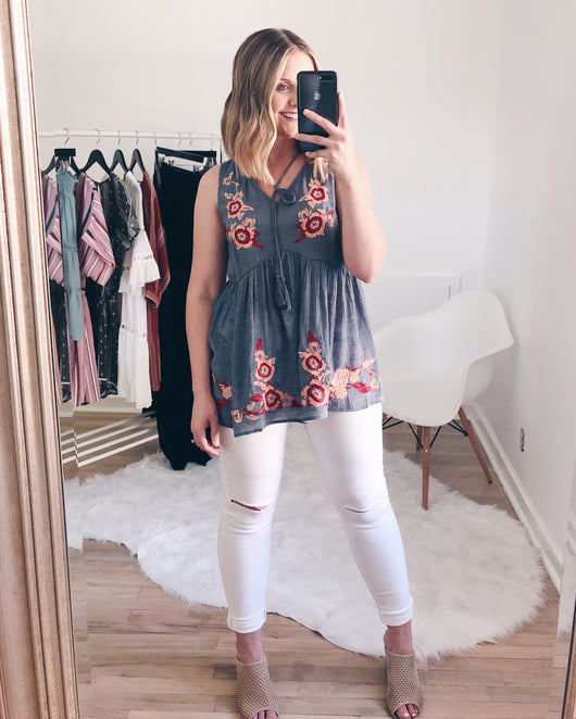 Chloe Floral Embroidery Blouse