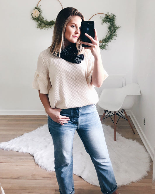 Leona Two-Tone Ribbed Top
