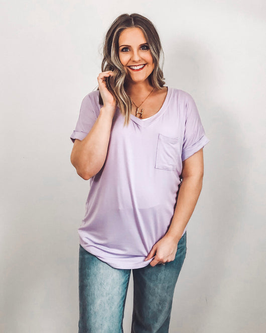 Lucca Pocket Tee In Lavender