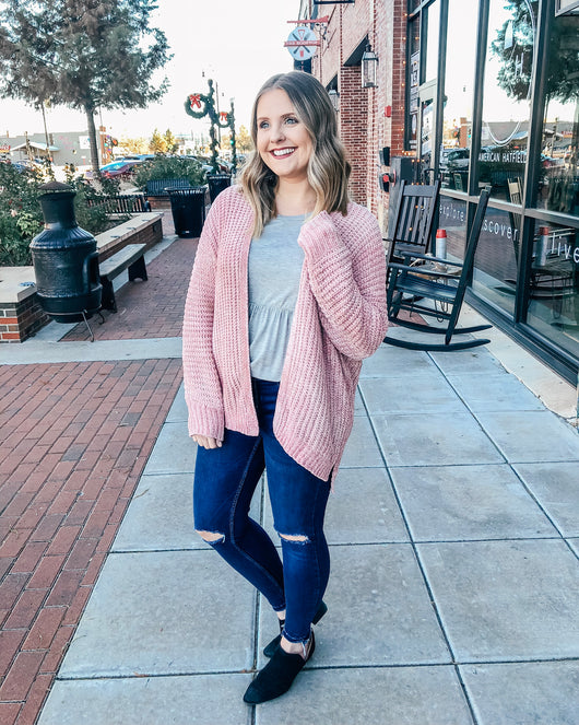 Rory Chenille Cardigan-Pink