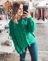 Arden Fringed Cable Knit Sweater