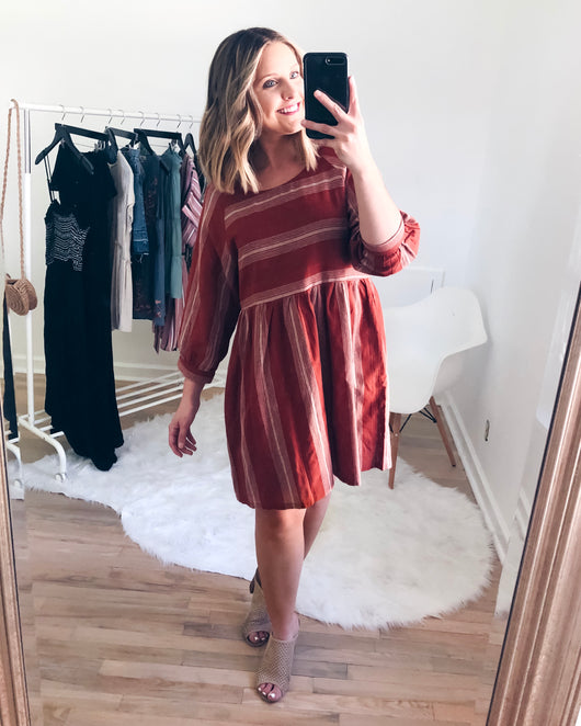 Leah Striped Puff Sleeve Dress