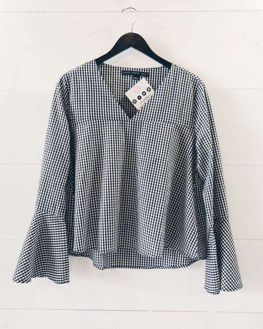 Riley Bell Sleeve Gingham Blouse