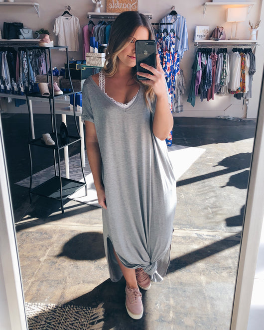 Harlow Maxi Dress In Heather Grey