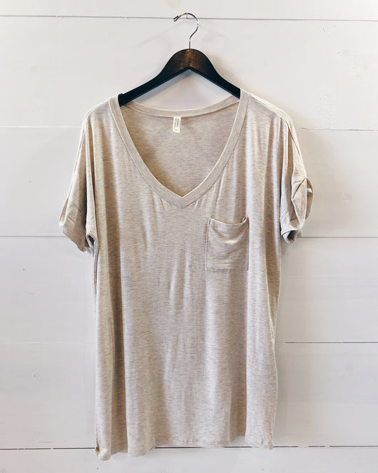Lucca Pocket Tee In Oatmeal