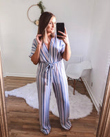 Lula Cutout Back Striped Jumpsuit