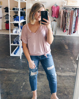 Lucca Pocket Tee In Mauve