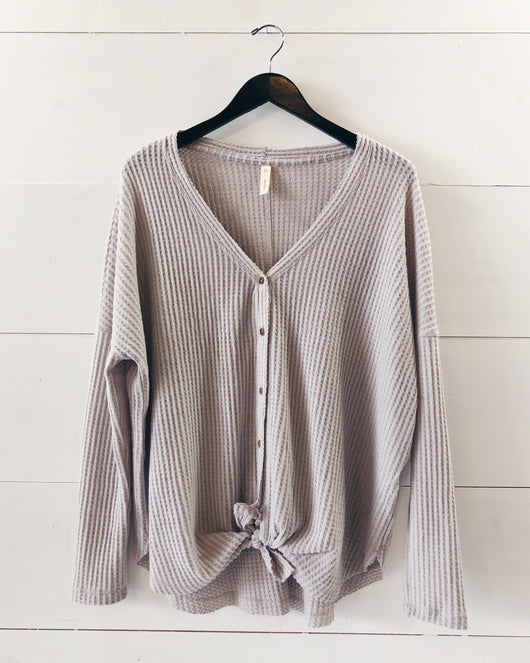 Esley Knit Tie Top In Cream