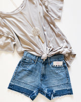 Norah Hem Detail Denim Shorts