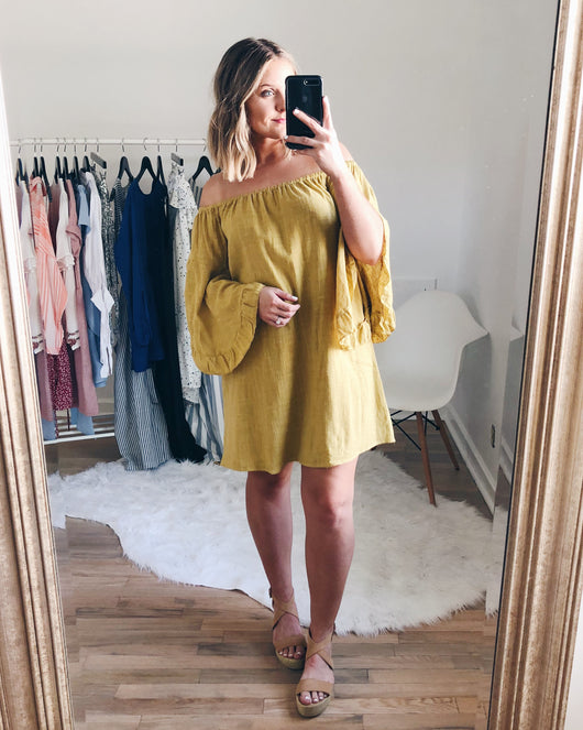 Elliot Off The Shoulder Ruffle Sleeve Dress