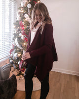 Elise High Low Cardigan - Wine