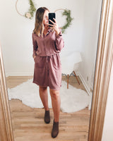 Elaina Frayed Hem Drawstring Dress