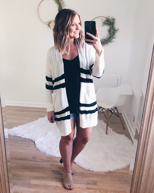Demi Off White and Black Striped Cardigan
