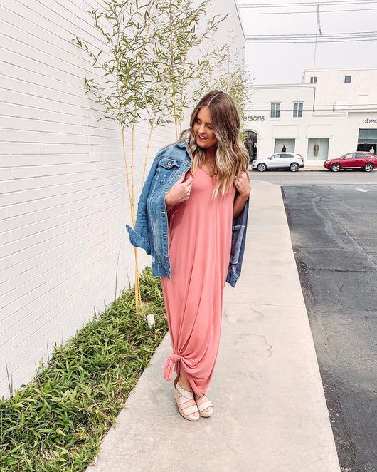 Savannah Cami Strap Maxi Dress - Dusty Rose