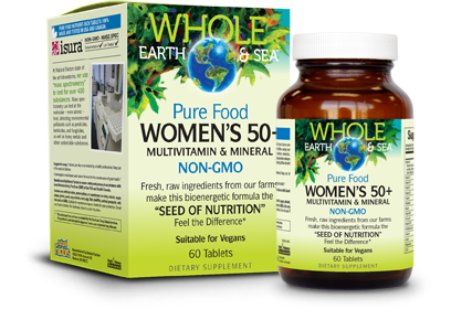 Whole Earth & Sea Pure Food Women's 50 + Multivitamin Multimineral (NON-GMO)