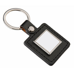 Keyring - Sublimation Metal & PU Keyring - Square - Black