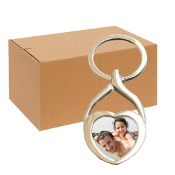 FULL CARTON - 240 x Heart-Shaped Blank Sublimation Metal Keyrings