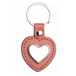 Keyring - Sublimation Metal & PU Keyring - Heart - Brown