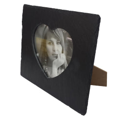 Black Slate - Engravable - Picture Frame with Inner Heart - 23cm x 19cm
