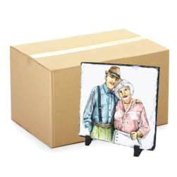 FULL CARTON - 20 x Matt Finish Medium Blank Square (20cm x 20cm) Sublimation Photo Slates with Stands